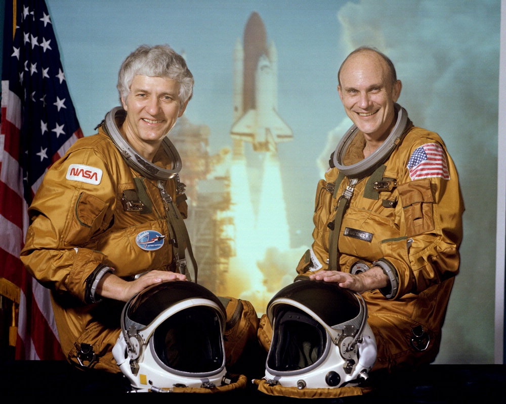 STS-4 pilot Hartsfield (left) and commander T.K. Mattingly.