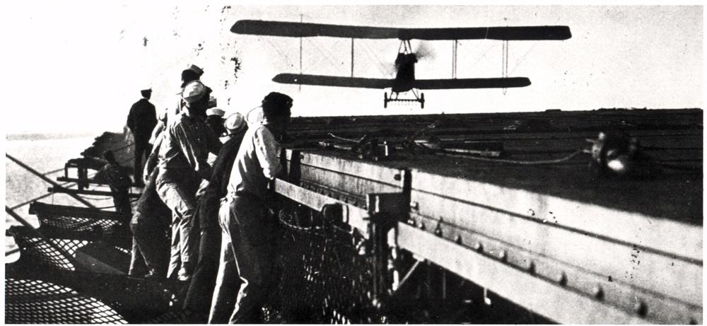 Lt. Cmdr. Godfrey Chevalier landing on the USS Langley