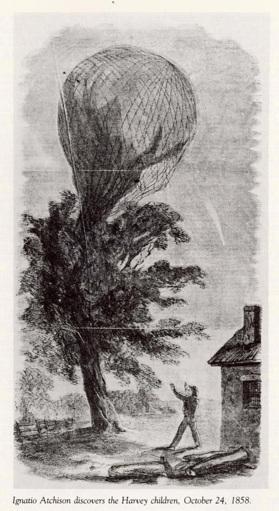 Ignatio Atchison Discovers Harvey Children in Runaway Balloon, Oct 24, 1858