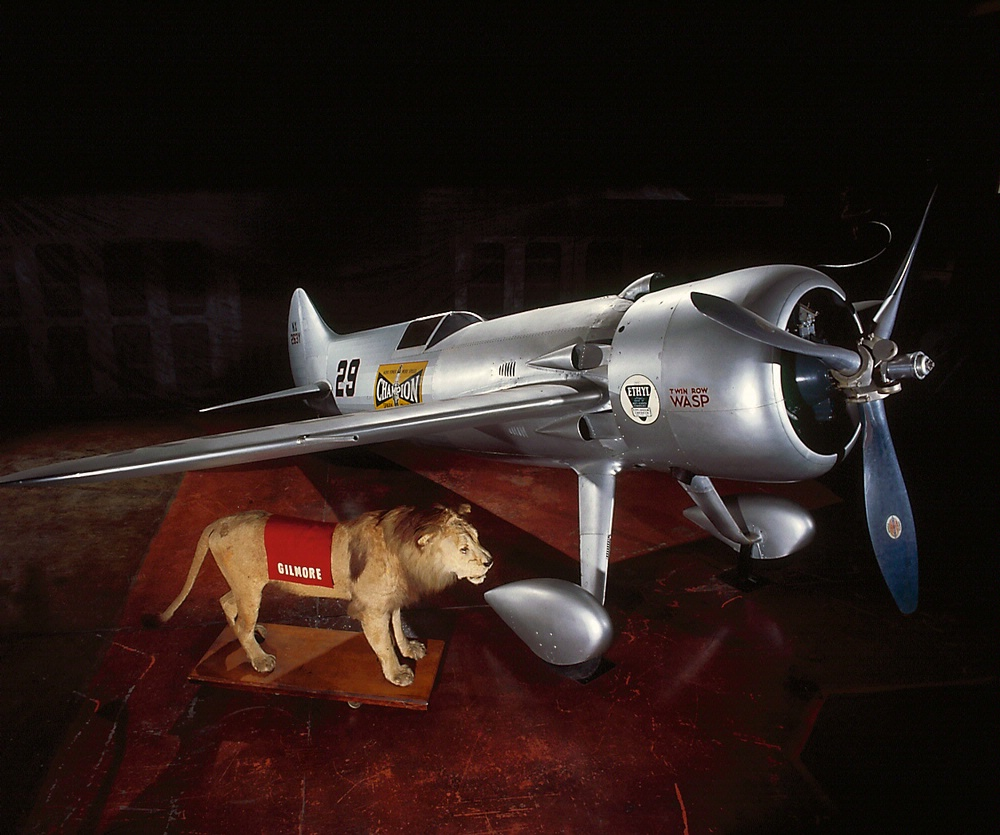 Turner RT-14 with Roscoe Turner's lion, Gilmore at the Udvar-Hazy Center