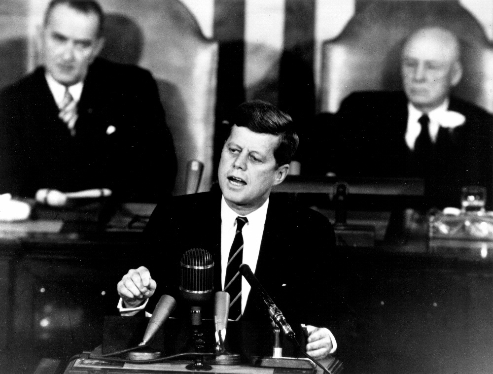 President Kennedy speaks to Congress