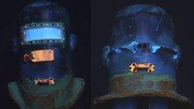 Post Helmet Under UV Light