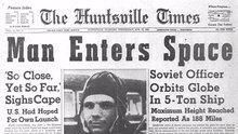 Newspaper clip for Yuri Gagarin