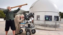 Galileo and Dr. DeVorkin Stargaze Outside of the Public Observatory
