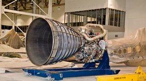 Space Shuttle Main Engine in the Mary Baker Engen Restoration Hangar