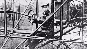 Bud Mars in His Curtiss Airplane