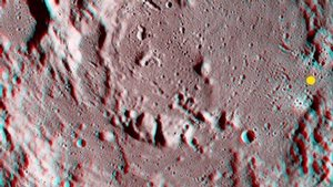 Descartes Crater on the Moon in 3-D