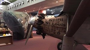 """Spirit of St. Louis"" in the <em>Boeing Milestones of Flight Hall</em>"
